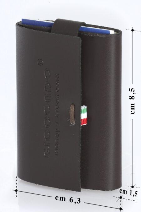 GIOCONDO Money/Card Pelle Nappa Seta Liscia nero fumo