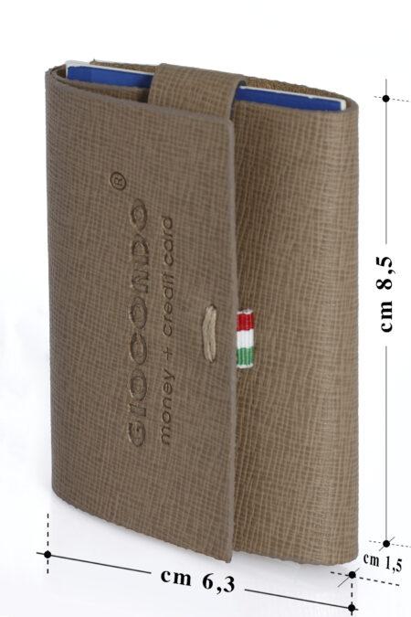 GIOCONDO Money/Card Pelle ruvida saffiano grigio pastello