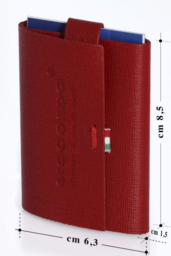 220 Ruvido 222 Ruvido Money Card saffiano rosso bordeaux