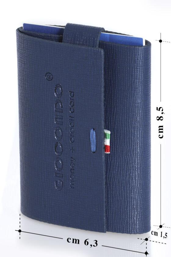 222 Ruvido Money Card saffiano  blue elettrico